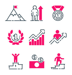 motivation concept chart pink icon business vector image vector image