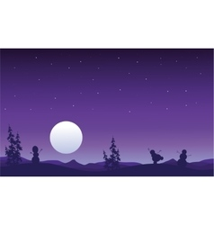 Silhouette of snowman and full moon christmas vector