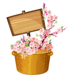 wooden sign with cherry blossoms vector image vector image