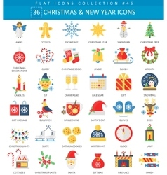 Christmas and Happy New Year flat icon set vector image vector image