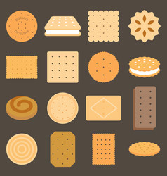 collection of biscuit in flat design vector image vector image