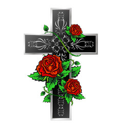 Cross with ornament and roses vector