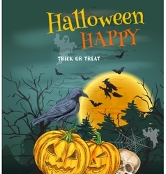 Halloween Party poster with pumpkin lanterns vector image