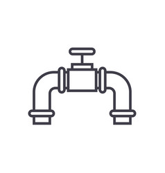 pipes with gas valve line icon sign vector image