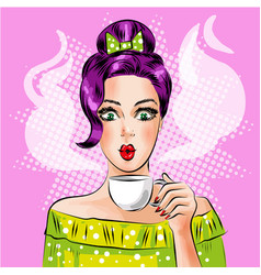 pop art girl with cup of hot coffee vector image