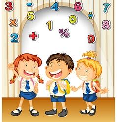 Boy and girls in school uniform vector image vector image