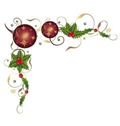 Christmas balls and holly vector image
