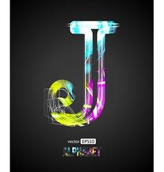 Design Light Effect Alphabet Letter J vector image