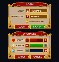 Medieval game GUI pack 2 vector image vector image