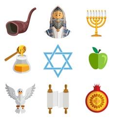 Rosh Hashana Jewish New Year Yom Kippur Icons vector image