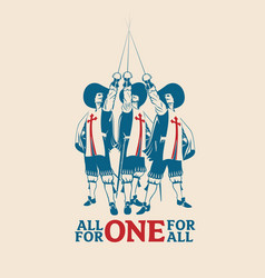 all for one for vector image