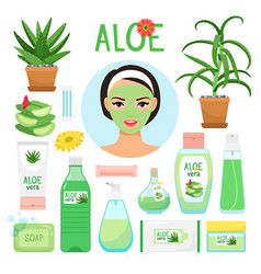 Aloe vera cosmetic products vector