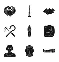Ancient Egypt set icons in black style Big vector image