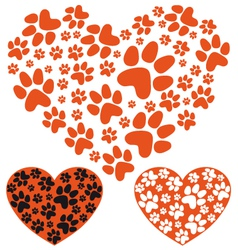 Animal paws heart vector