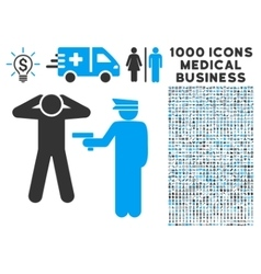 Arrest Icon with 1000 Medical Business Symbols vector