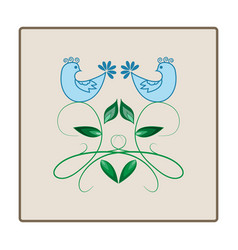 birds on twig in square vector image