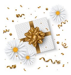 birthday background chamomile flower gift box vector image