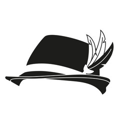 Black and white german feather hat silhouette vector