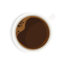 black coffee in white cup top view realistic vector image