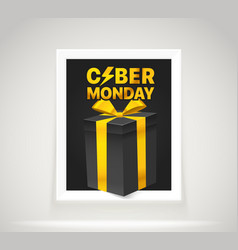 Bright frame on the wall the cyber monday label vector