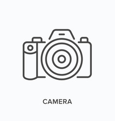 camera flat line icon outline vector image