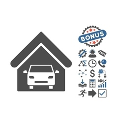 Car Garage Flat Icon With Bonus vector image