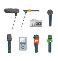 Cartoon microphone set press conference element vector