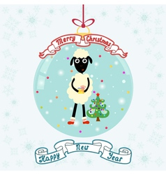 Christmas ball with sheep vector