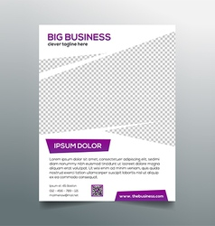 Clean modern business flyer template in purple vector image
