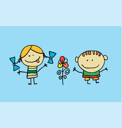 Cute cartoon kids girl and boy with flower vector