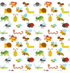 cute cartoon seamless pattern with insects funny vector image