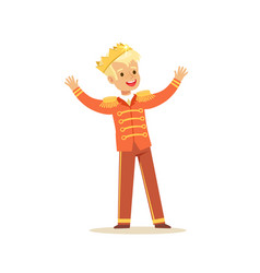 Cute little blonde boy wearing a prince costume vector
