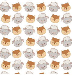 cute woodland animals characters pattern vector image