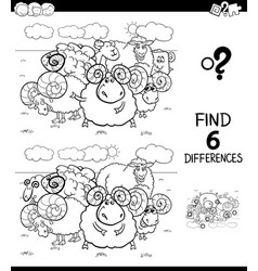 differences color book with sheep and rams vector image