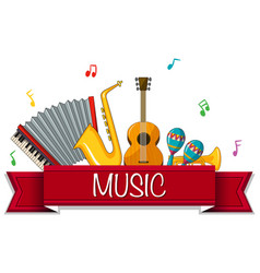 different types of musical instruments with banner vector image
