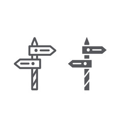 Direction line and glyph icon way and guidepost vector