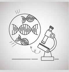 dna molecule with microsocpe vector image