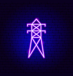 electric pole neon sign vector image