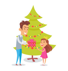 father congratulates daughter in christmas holiday vector image vector image