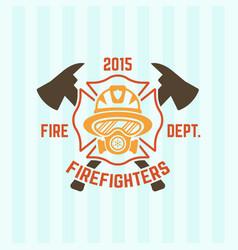 Firefighter in a gas mask fire department emblem vector