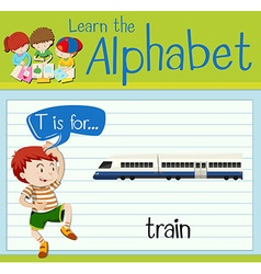 Flashcard letter T is for train vector