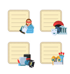 flat theatre icons stickers with place for vector image