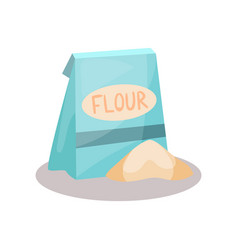 flour in a craft paper bag on vector image