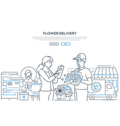 flower delivery - modern line design style vector image