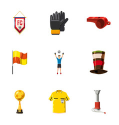 football tournament icons set cartoon style vector image