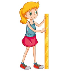 Girl measuring height with a ruler vector