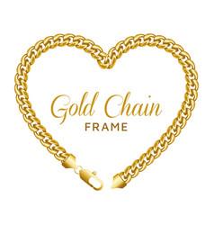 gold chain heart love border frame wreath shape vector image