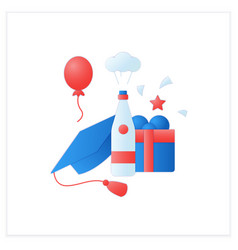 Graduation party flat icon vector