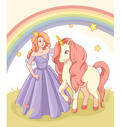 greeting card with cute princess and unicorn vector image