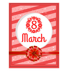 Greeting postcard 8 march womens day card vector
